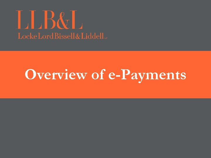 Overview of e-Payments