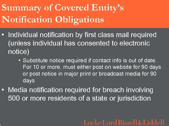 0 Summary of Covered Entity's Notification Obligations • Individual notification by first class mail