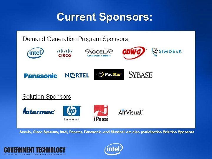 Current Sponsors: Accela, Cisco Systems, Intel, Pacstar, Panasonic, and Simdesk are also participation Solution