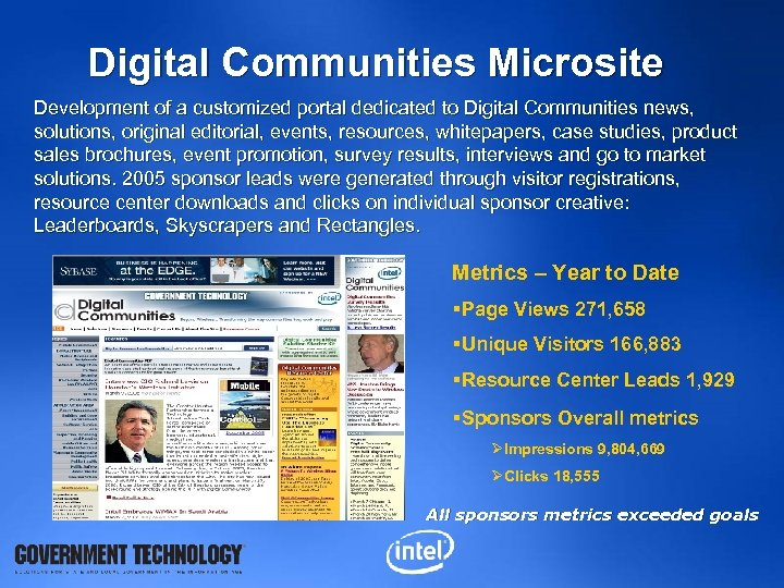 Digital Communities Microsite Development of a customized portal dedicated to Digital Communities news, solutions,