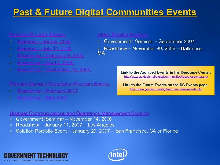 Past & Future Digital Communities Events Previous Program Events ü ISeminar – June 6,