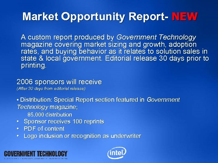 Market Opportunity Report- NEW A custom report produced by Government Technology magazine covering market