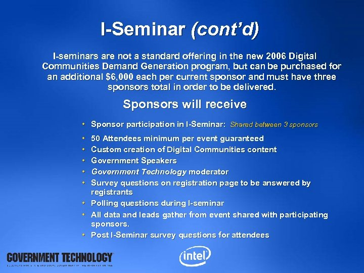 I-Seminar (cont'd) I-seminars are not a standard offering in the new 2006 Digital Communities