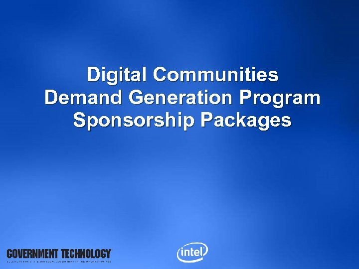 Digital Communities Demand Generation Program Sponsorship Packages