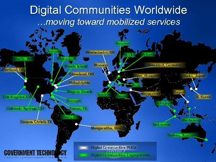 Digital Communities Worldwide …moving toward mobilized services Sweden Toronto Seattle, WA Portland, OR Westminster,