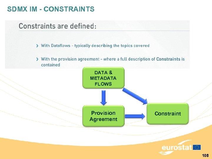SDMX IM - CONSTRAINTS DATA & METADATA FLOWS Provision Agreement Constraint 108