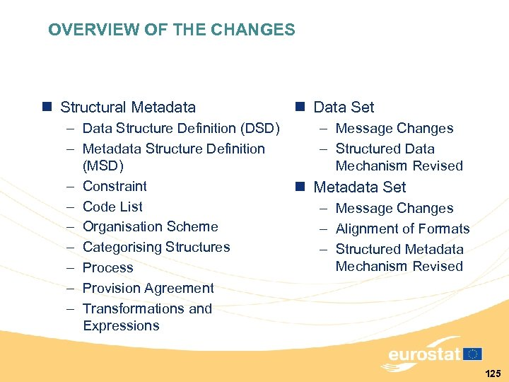 OVERVIEW OF THE CHANGES n Structural Metadata – Data Structure Definition (DSD) – Metadata