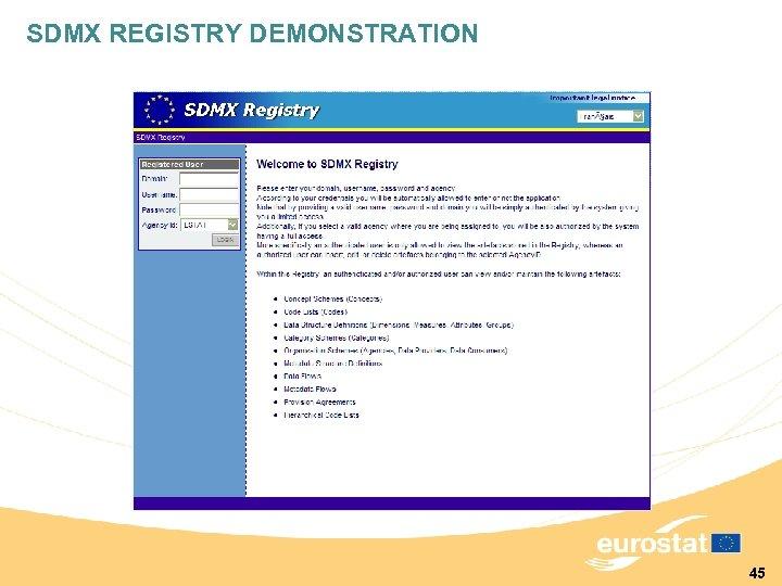 SDMX REGISTRY DEMONSTRATION 45