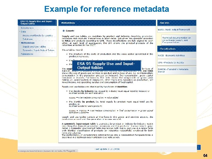 Example for reference metadata 64