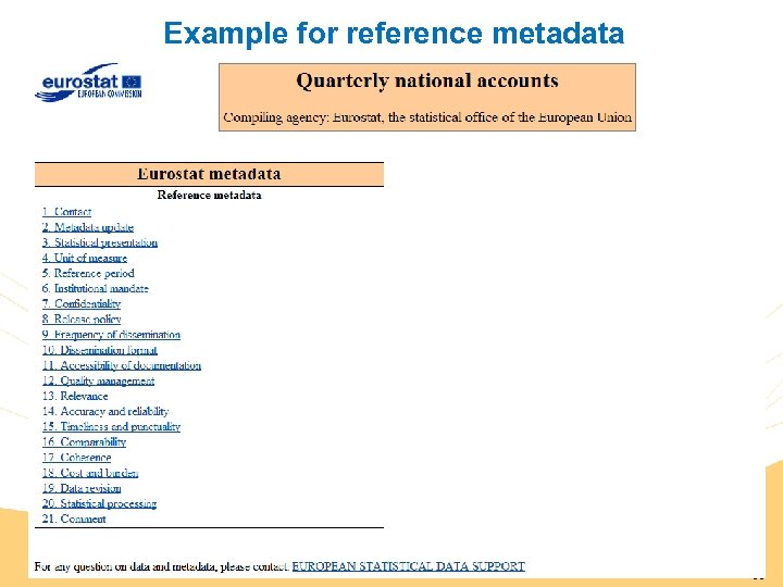 Example for reference metadata 65