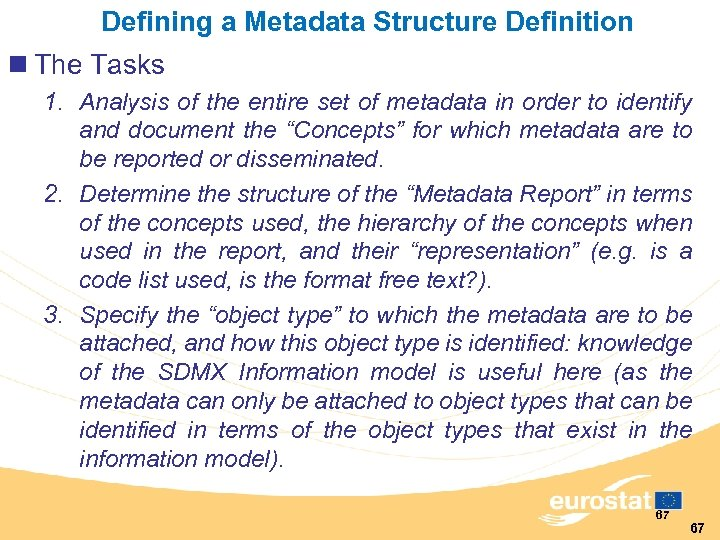 Defining a Metadata Structure Definition n The Tasks 1. Analysis of the entire set