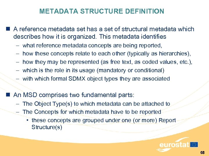 METADATA STRUCTURE DEFINITION n A reference metadata set has a set of structural metadata