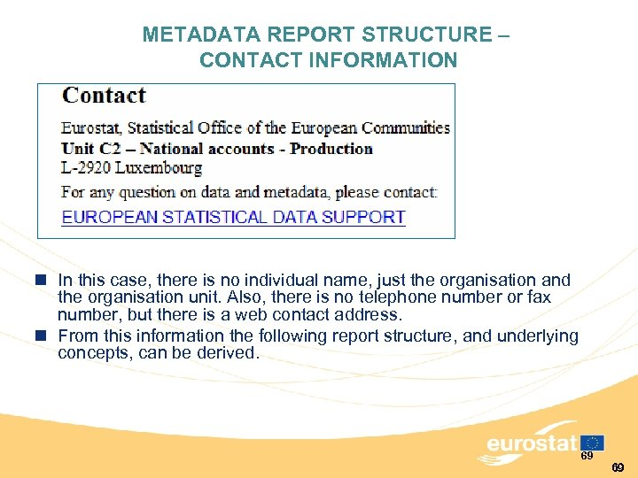 METADATA REPORT STRUCTURE – CONTACT INFORMATION n In this case, there is no individual