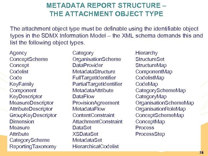 METADATA REPORT STRUCTURE – THE ATTACHMENT OBJECT TYPE The attachment object type must be