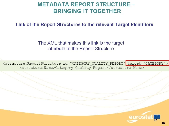 METADATA REPORT STRUCTURE – BRINGING IT TOGETHER Link of the Report Structures to the