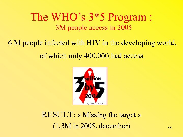 The WHO's 3*5 Program : 3 M people access in 2005 6 M people