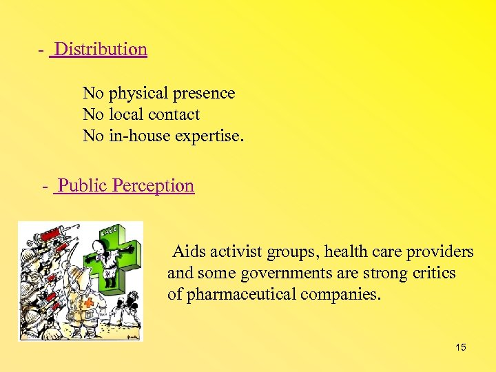 - Distribution No physical presence No local contact No in-house expertise. - Public Perception