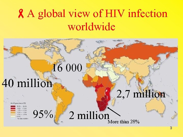 A global view of HIV infection worldwide 16 000 40 million 95% 2,