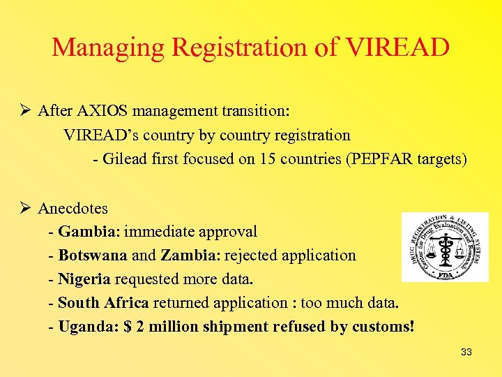 Managing Registration of VIREAD After AXIOS management transition: VIREAD's country by country registration -