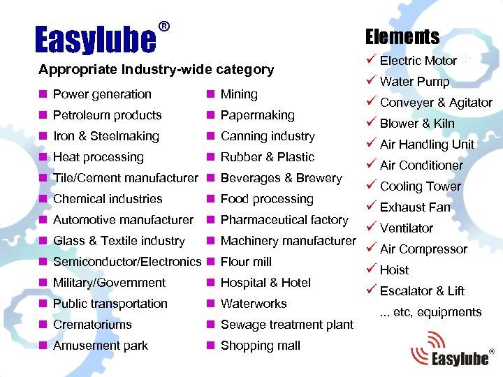 ® Easylube Elements ü Electric Motor ü Water Pump Power generation n Mining ü