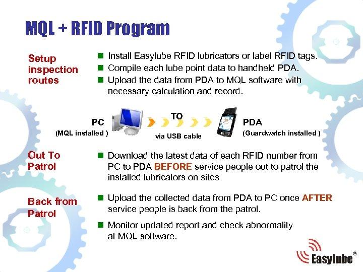 MQL + RFID Program Setup inspection routes n Install Easylube RFID lubricators or label