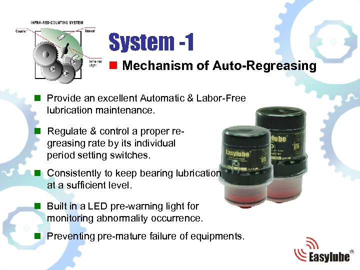 System -1 n Mechanism of Auto-Regreasing n Provide an excellent Automatic & Labor-Free lubrication