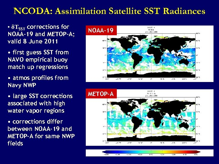NCODA: Assimilation Satellite SST Radiances • δTSST corrections for NOAA-19 and METOP-A; valid 8