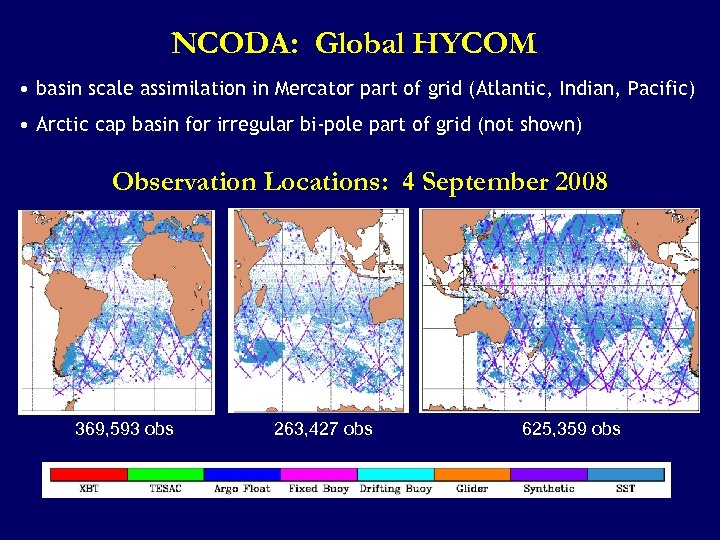 NCODA: Global HYCOM • basin scale assimilation in Mercator part of grid (Atlantic, Indian,
