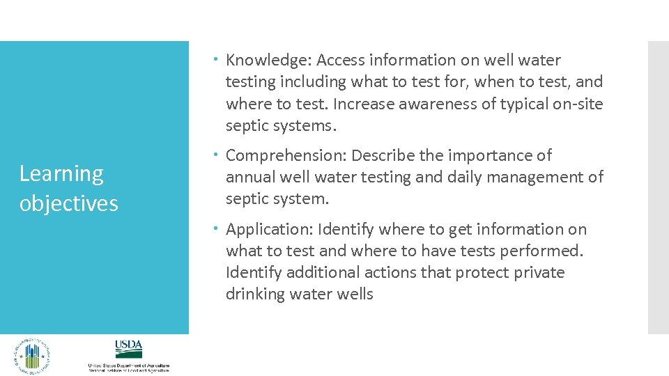 Knowledge: Access information on well water testing including what to test for, when