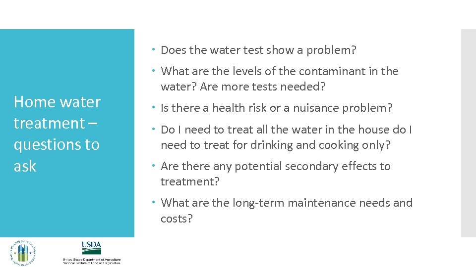 Does the water test show a problem? Home water treatment – questions to
