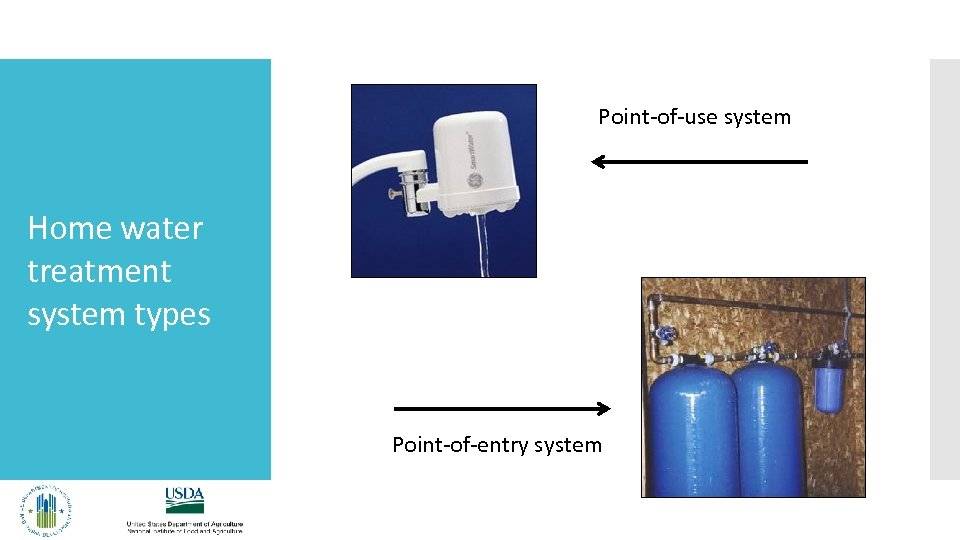Point-of-use system Home water treatment system types Point-of-entry system