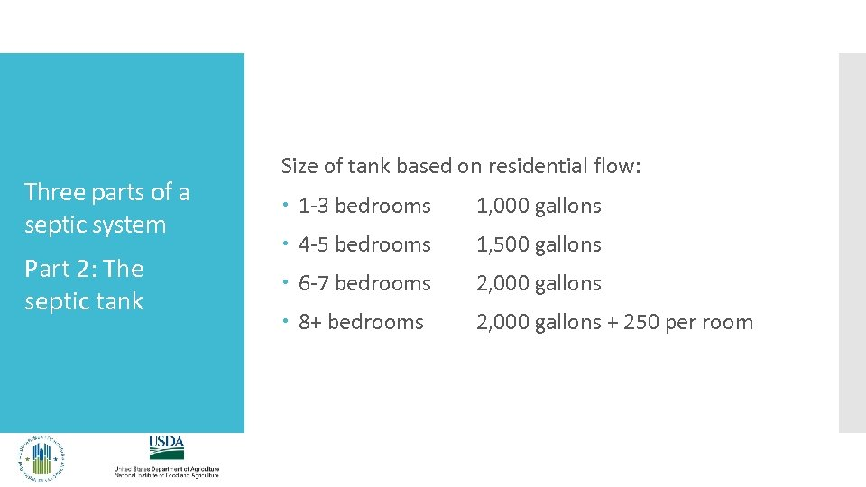 Three parts of a septic system Part 2: The septic tank Size of tank