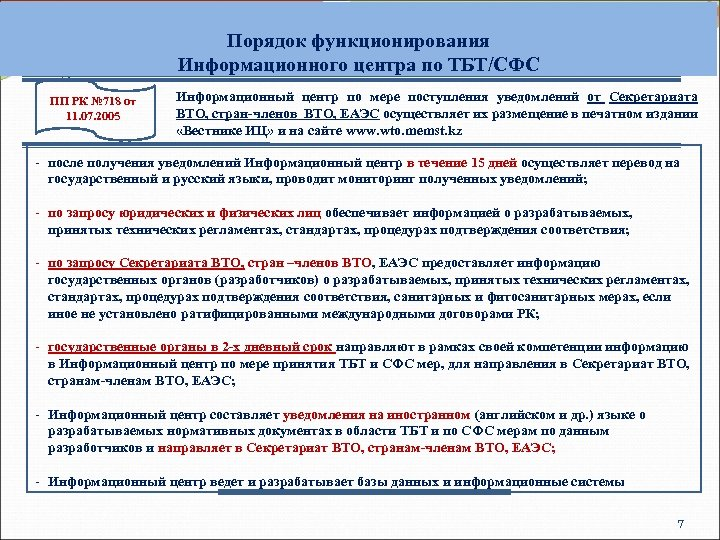 Порядок функционирования Информационного центра по ТБТ/СФС ПП РК № 718 от 11. 07. 2005