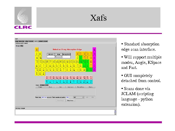 Xafs • Standard absorption edge scan interface. • Will support multiple modes, Angle, KSpace