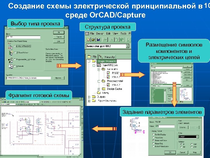Создание схемы электрической принципиальной в 10 среде Or. CAD/Capture Выбор типа проекта Структура проекта