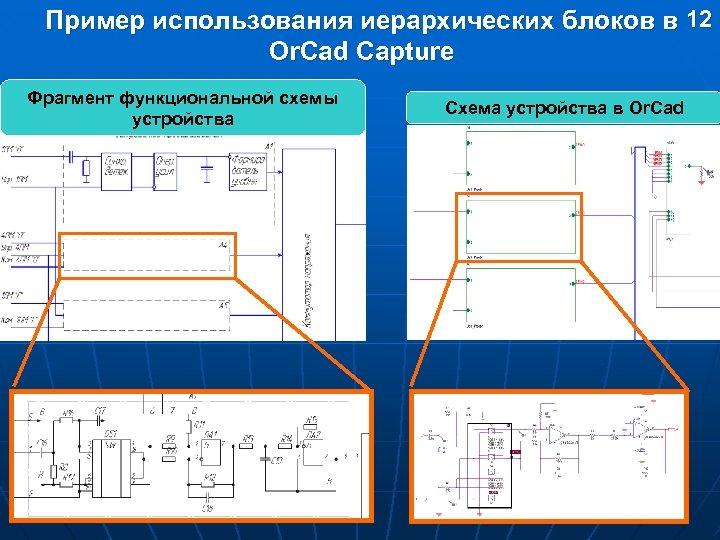 Пример использования иерархических блоков в 12 Or. Cad Capture Фрагмент функциональной схемы устройства Схема