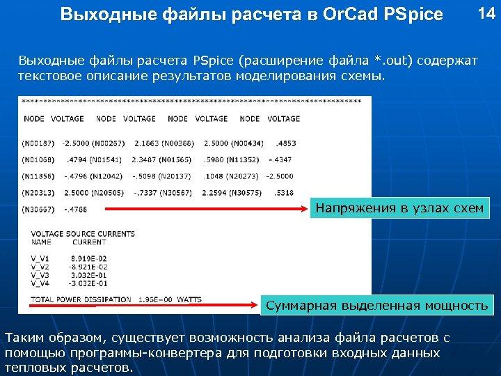 Выходные файлы расчета в Or. Cad PSpice 14 Выходные файлы расчета PSpice (расширение файла