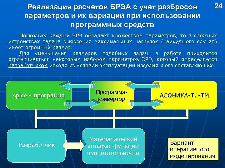 Реализация расчетов БРЭА с учет разбросов параметров и их вариаций при использовании программных средств