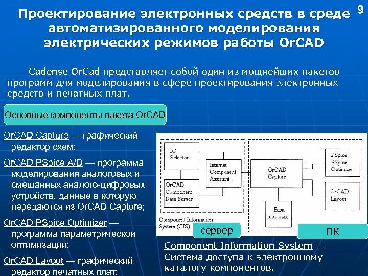 Проектирование электронных средств в среде 9 автоматизированного моделирования электрических режимов работы Or. CAD Cadense