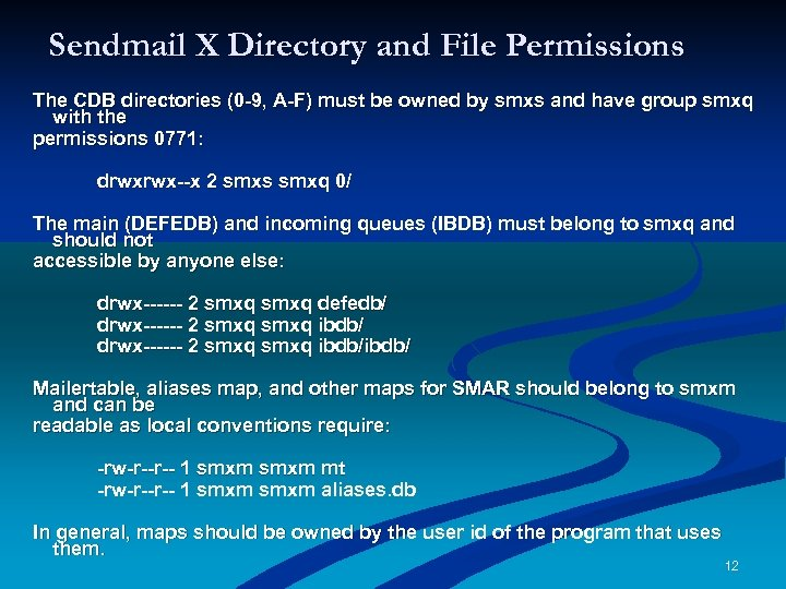 Sendmail X Directory and File Permissions The CDB directories (0 -9, A-F) must be