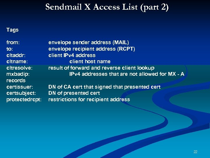 Sendmail X Access List (part 2) ( Tags from: to: cltaddr: cltname: cltresolve: mxbadip: