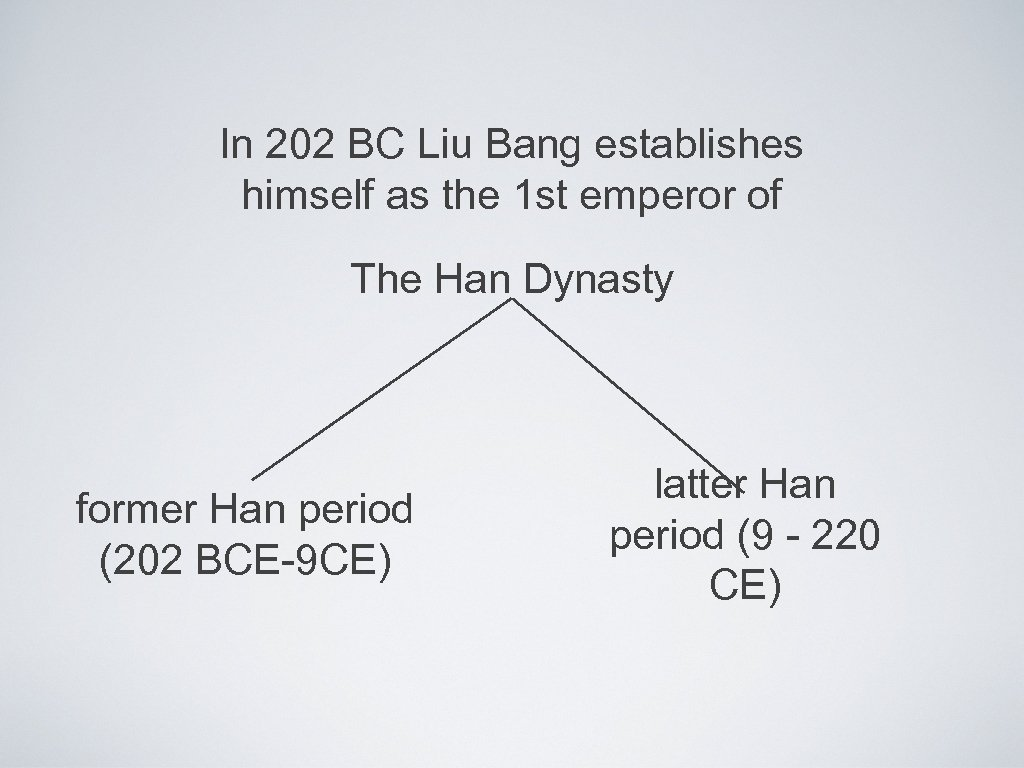 In 202 BC Liu Bang establishes himself as the 1 st emperor of The
