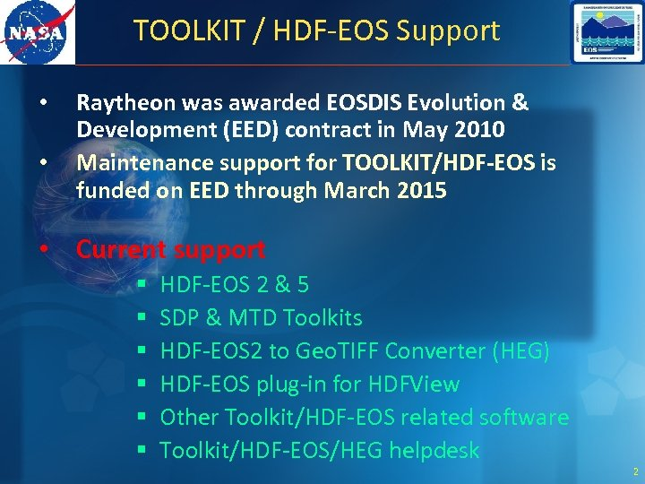 Status of HDF-EOS Related Software and Tools Abe