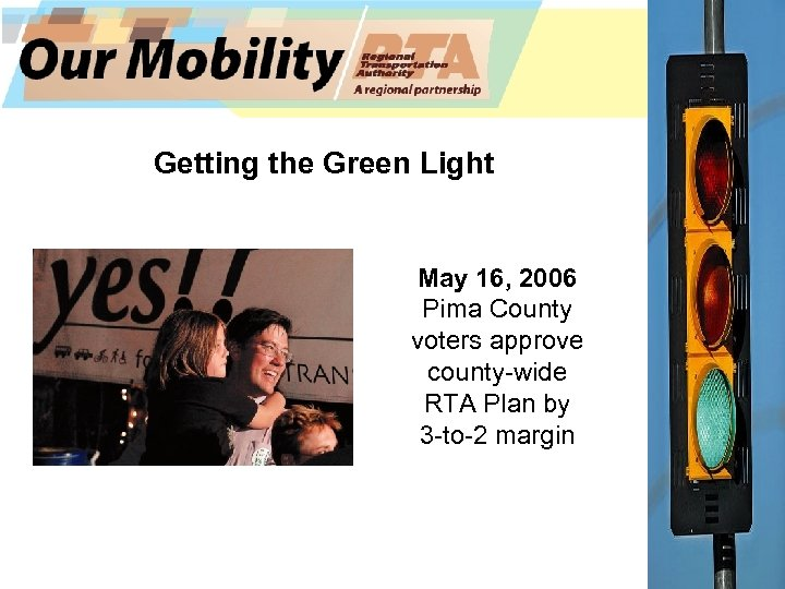 Getting the Green Light May 16, 2006 Pima County voters approve county-wide RTA Plan