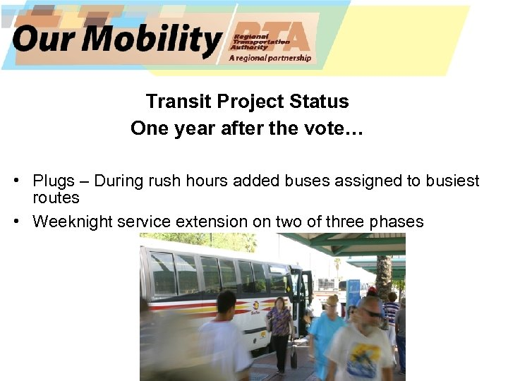Transit Project Status One year after the vote… • Plugs – During rush hours