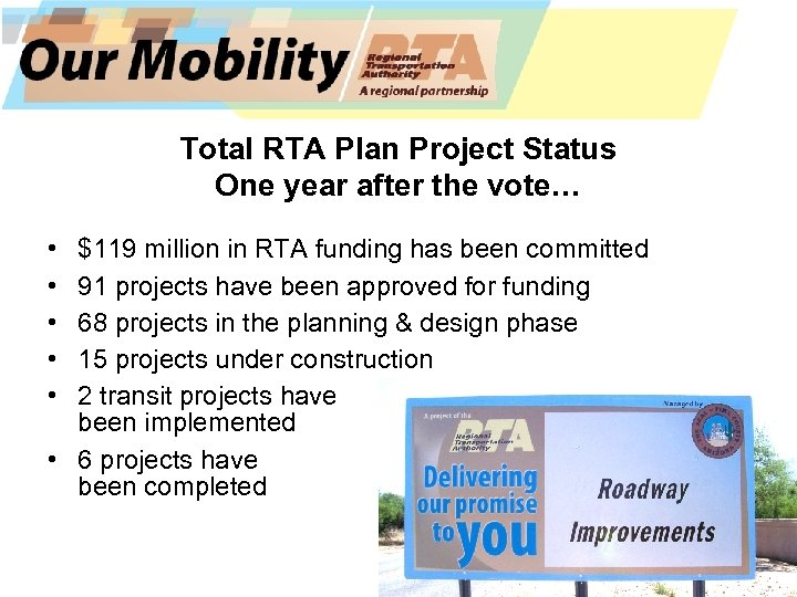 Total RTA Plan Project Status One year after the vote… • • • $119