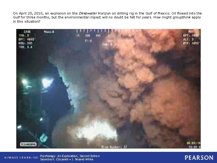 On April 20, 2010, an explosion on the Deepwater Horizon oil drilling rig in