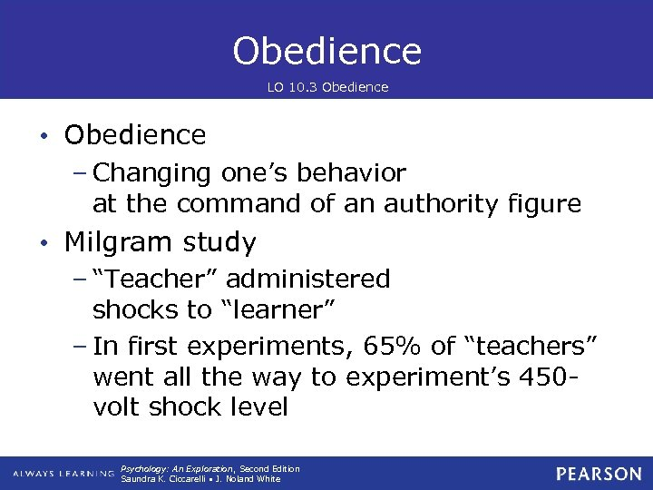 Obedience LO 10. 3 Obedience • Obedience – Changing one's behavior at the command