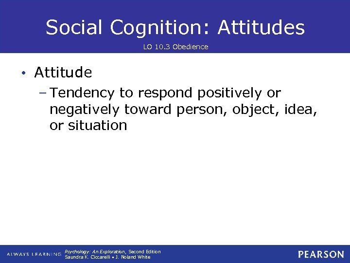 Social Cognition: Attitudes LO 10. 3 Obedience • Attitude – Tendency to respond positively