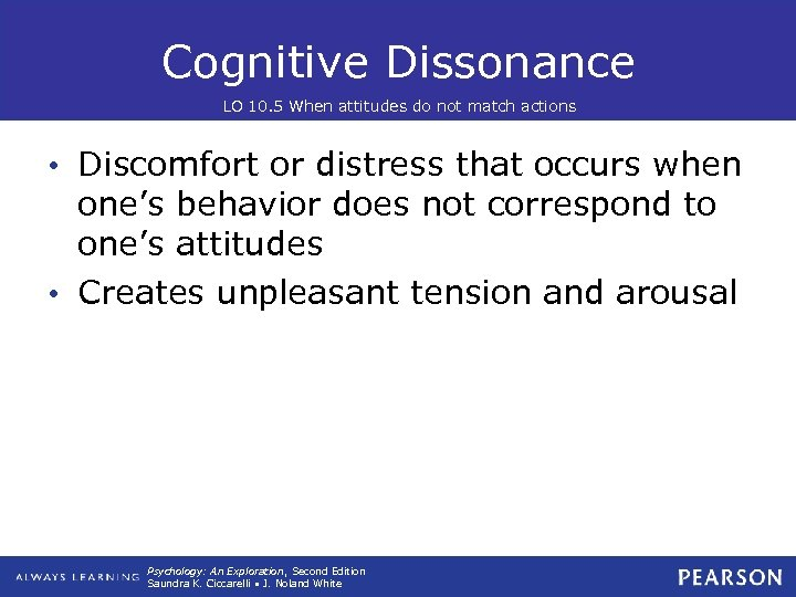Cognitive Dissonance LO 10. 5 When attitudes do not match actions • Discomfort or